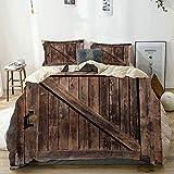 Juego de Funda nórdica Beige, Puerta corredera Vintage, Juego de Cama Decorativo de 3 Piezas con 2 Fundas de Almohada