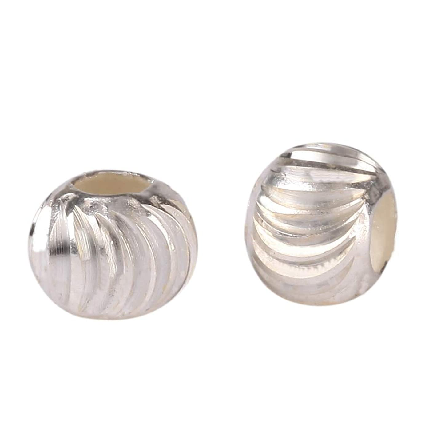 30pcs x 6mm Sterling Silver Infinite Pattern Round Spacer beads (Large Hole ~2.6mm) for Jewelry Craft Making Findings SS63