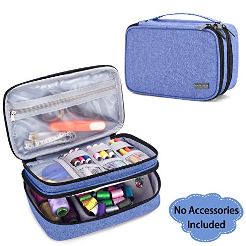 Luxja Sewing Accessories Organizer, Double-Layer Sewing Supplies Organizer for Needles, Scissors, Measuring Tape, Thread and Other Sewing Tools (NO Accessories Included), Small/Dark Blue
