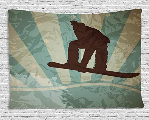 Snowboard Tapestry, Bicolour Background in Grunge Style, Wide Wall Hanging for Bedroom Living Room Dorm, 80