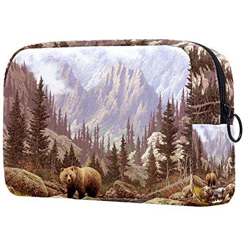 Bolsa de cosméticos Bolsa de Maquillaje Impermeable para Mujer para Viajar, Llevar cosméticos, Cambiar Llaves, etc. Grizzly Bear In The Rock