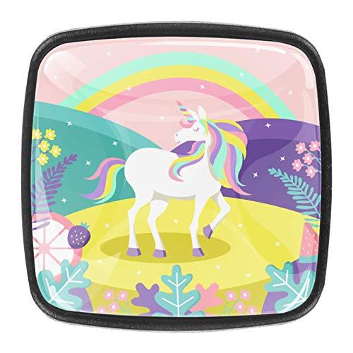 4 pomos de cristal para puerta de armario y cajón, con diseño de unicornio
