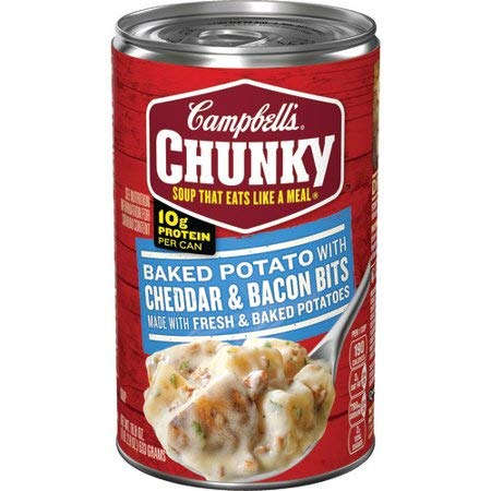 Campbell's Chunky Baked Potato with Cheddar & Bacon Bits Soup 18.8 oz (Pack of 6)
