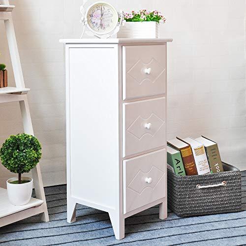EXQUI Nachttisch Kommode Nachtschrank Nachtkommode Weiß mit 3 Schubladen Nachtkonsole Holz für Schlafzimmer Wohnzimmer Komplett montiert, 32x30x72cm, G962-3W