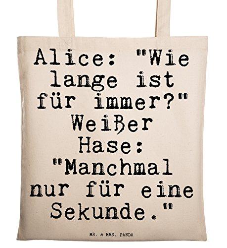 Mr. & Mrs. Panda Tragetasche mit Spruch Alice: Wie Lange ist für Immer? Weißer Hase: Manchmal nur für eine Sekunde.