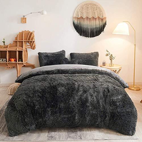 Sacebeleu Plüsch Bettwäsche Set 220x240cm Dunkelgrau Grau Warme Winter Flauschig Flanell Biber Mädchen Bettbezug Deckenbezug mit Reißverschluss und 2 Kissenbezug 80x80cm Doppelbett