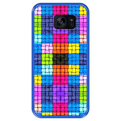 Hapdey Funda Azul para [ Samsung Galaxy S7 Edge ] diseño [ Cuadrados de Colores con Gotas de Agua ] Carcasa Silicona Flexible TPU