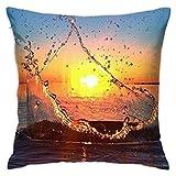 Sunset Splash Funda de Almohada Cuadrada Suave Funda de cojín Sofá para el hogar Decorativo 45X45cm Ultra cómodo