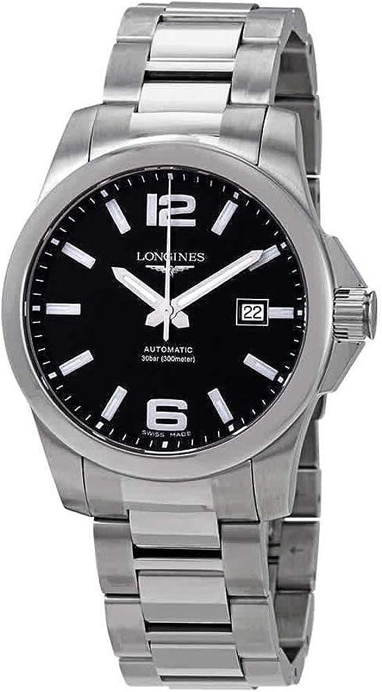 Longines conquest orologio automatico da uomo in acciaio inossidabile L3.777.4.58.6