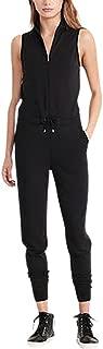 Lauren Ralph Lauren Women's French Terry Mockneck Jumpsuit, Polo Black/Herbal Milk