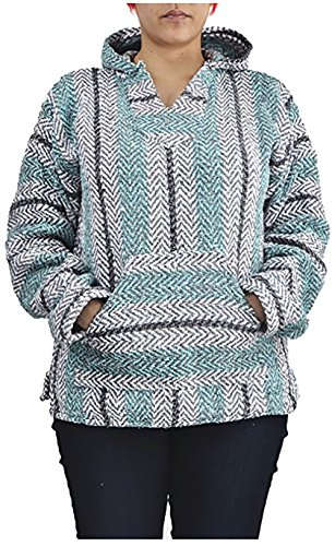 Baja Joe Striped Hoodie Woven Eco-Friendly Pullover (Large, Pastel...