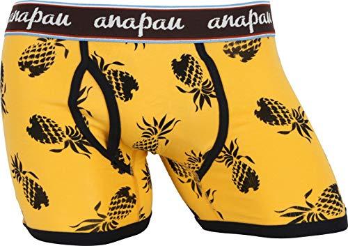 (アナパウ) anapau ボクサーパンツ メンズ パイナップル 男性 下着 無地 ロゴ 彼氏 父 プレゼント ギフト 大きいサイズ 国産 国内生産 おしゃれ カワイイ M:マスタード