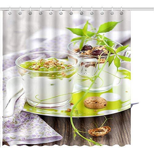 D-M-L Duschvorhang Trauben Dessert Mit Amaretti Kekse In Gläser Grafikdruck Polyester Badezimmer-Sets Mit Haken 122X183CM