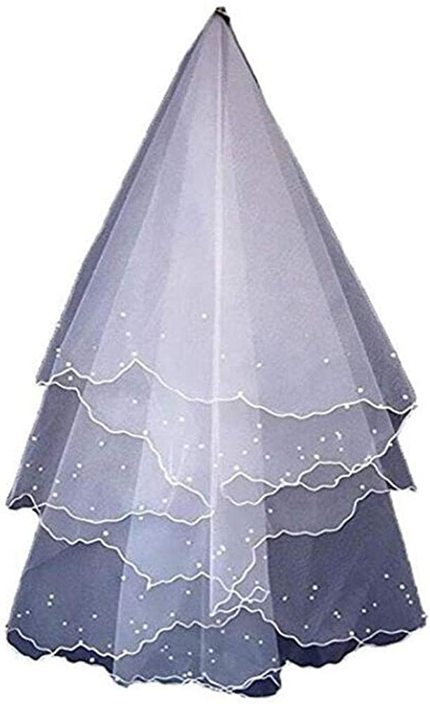 Women's Exquisite Pearls Bridal Veil Short Tulle Wedding Veil White & Ivory Accessories