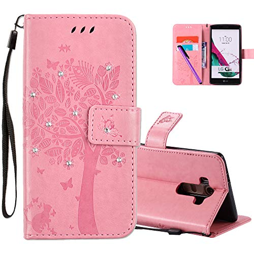 HMTECHUS LG G4 Case 3D Crystal Embossed Love Cat Butterfly PU Flip Stand Card Holders Wallet Handmade Diamonds Bling Cover with Stylus Pen for LG G4 Wishing Tree Pink KT