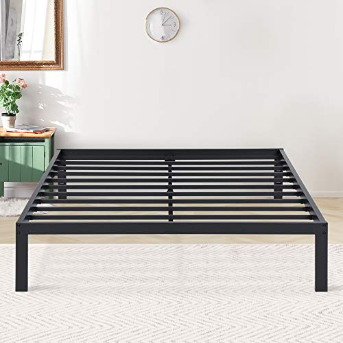PrimaSleep 14 Inch New Dura Metal Steel Slate Bed Frame, Full, Black