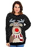 STAR FASHION Frauen Unisex Rudolph Print 3D Nose Pom Pom Weihnachtspullover (Schwarze, S)