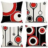 Housse Coussin 45x45cm Lot de 4 Coussin geometrique Noir et Blanc Rouge scandinave Jardin Exterieur Coussins pour canapé decoratif Decoration