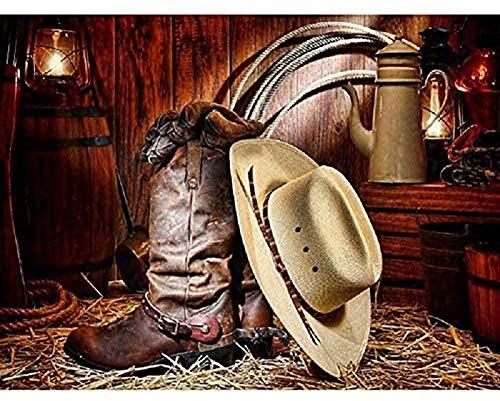 DGSJH 5D Diy pinturas de diamantes sombrero de vaquero botas bordado completo de diamantes de imitación para decoración mejores regalos 40X50Cm