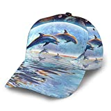 Gorras De Béisbol Galaxy Dolphins Jumping Sunset Space 3D Ajustable Snapback Deportes Trucker Sombreros Negro