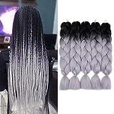 "24"" Synthetic Kanekalon HighTemperature Heat Resistant Fiber Braids Soft Yaki Hair, suit for Box braids, Senegal Twist, African Braids etc No Smell, Soft, Durable, No Shedding, Healthy, light, Comfortable 100g/bundle, Usually 6-10pcs Can Make a Full..."