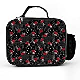 HOOSUNFlagrbfa Floral Pattern Red Peony Flower Polka Dot Lunch Bag Detachable leather Lunch box Thermal Cooler Outdoors Travel Work School Lunch Tote
