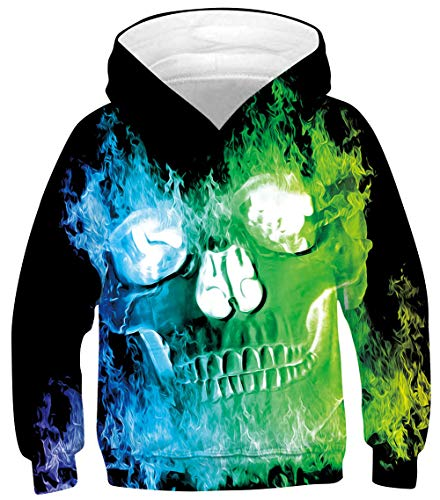 Fire Skull Hoodies for Teen Boys Blue and Green Long Sleeve Hoodys with Big Pocket Funny Flame Patterns Hooded Pullover Youth Crewneck Athletic Sweatshirts Unisex Fancy Design Shirts, Skull 14-16 Year