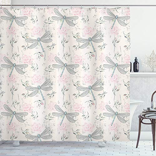 """Ambesonne Dragonfly Shower Curtain, Shabby Form Roses Worn Old Vintage Backdrop with Moth Bugs Print, Cloth Fabric Bathroom Decor Set with Hooks, 70"""" Long, Pale Pink"""