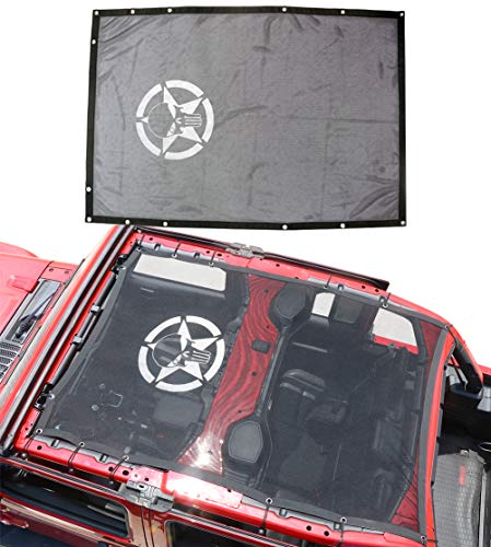 Bestao Sunshade Mesh Top Cover for Jeep Wrangle JL 4-Door, bestaoo Polyester Top Cover Provides UV Sun Protection for JL Jeep Wrangler 2018 - Skull \u0026amp; Star