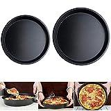 Plato De Pizza De Acero Al Carbono Sartenes Pizza Redondas Antiadherentes Horno Cocinar Pizza Crujiente Para Familias, Restaurantes, Panaderías, Escuelas De Cocina - Negro, 8 '' 10 ''