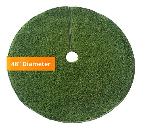 """Zen Garden Artificial Grass Christmas Tree Skirt w/ Anti-Slip Rubber Base w/ Binding (48"""" Dia) 