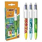 BIC 4 Colores Velours - Bolígrafos de punta media (1.0 mm), varios diseños, pack de 3 unidades, tinta azul, roja, verde y negra