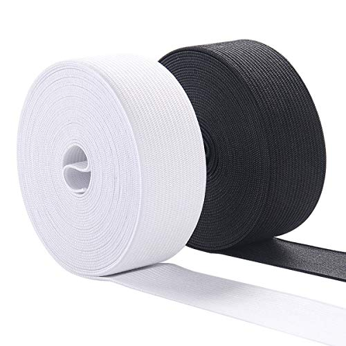 Elastic Bands for Sewing, 1 Inch Wide Elastic Fabric Band Springy Stretch Knitting Elastic Spool 10 Yard (5 Yard White,5 Yard Black)