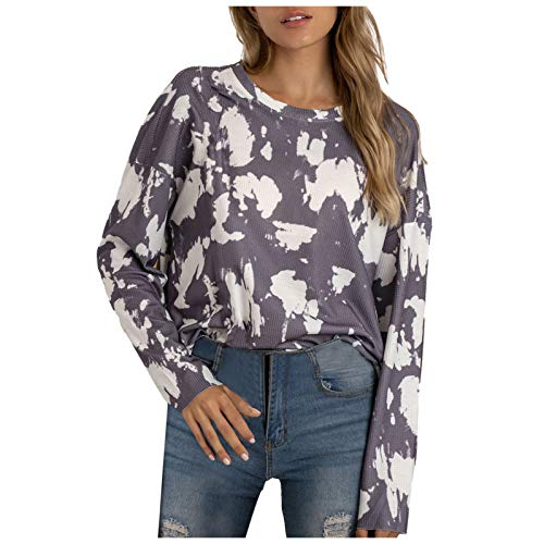 Womens Tops Long Sleeve Sweatshirt Tie Dye Camouflage Print Loose Casual T-Shirt