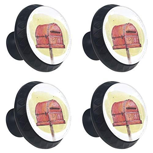 TIKISMILE - Pomello per cassetto, colore: Rosso acquerello