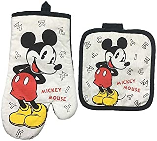 Mickey Mouse Microwave Glove Potholder Bakeware Blue and White 100% Cotton Oven Mitts and Potholder mat for BBQ or Kitchen (1)