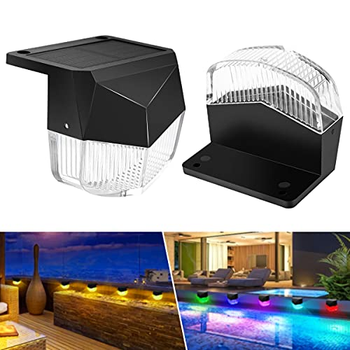 Solar Deck Lights Outdoor 2 Pack Solar Step Lights Waterproof LED Solar Fence Lights for Fence Deck Stair Patio Yard Garden Wall Pathway Driveway,Warm White,RGB Color Changing
