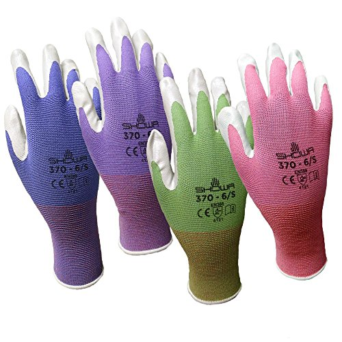 6 Pack Showa Atlas NT370 Atlas Nitrile Garden Gloves - Medium (Assorted Colors)