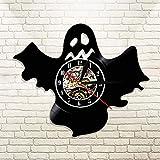Reloj de pared de vinilo 3D novedad lindo fantasma color cambiante luz de pared fantasma cementerio mágico apocalipsis reloj de muertos vivientes