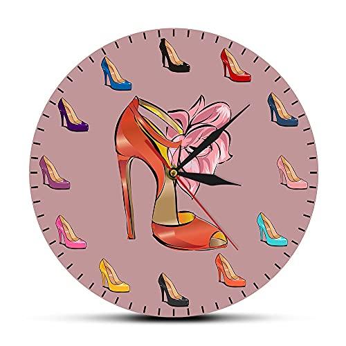 NIGU Regalos del Día del Miembro para las Mujeres Zapatos Mujer Reloj de Pared Zapatos de Tacón Alto Tienda de Marea Decoración de Arte de Moda Niña Reloj de Pared Zapatero Regalos para Hombres