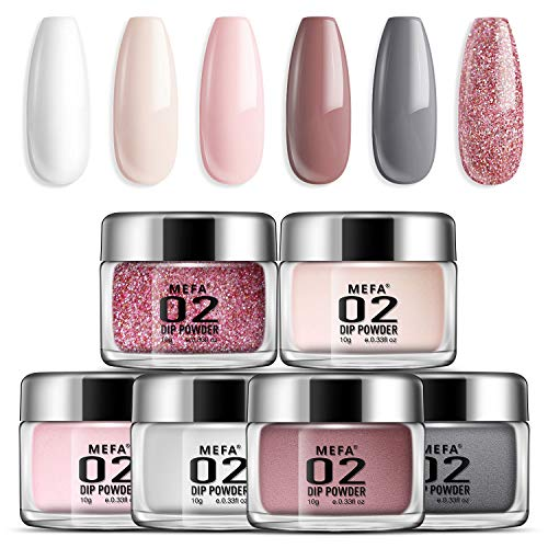 Dip Powder Nail Colors Set with 6 Nude Colors Dipping Powder Nails System for French Nail Manicure Nail Art No Nail Lamp Needed Acrylic Dipping Powder Nail Refill Set