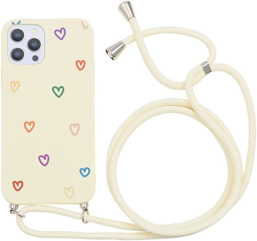 Yoedge Crossbody Case for Apple iPhone XR, Neck Cord Phone Case with Adjustable Lanyard Strap, Soft TPU Silicone with Cute Pattern Cover Compatible with iPhone XR [6.1