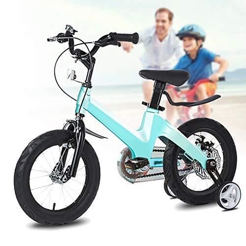 NEWPIN Magnesiumlegering in hoogte verstelbare kinderfiets Kids Bike met onderzetter rem, stuur en zadel in hoogte verstelbaar, verwijderbare steunwielen