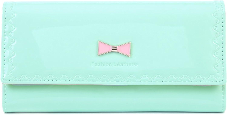 Damara Women Trifold Bow Patent Leather Handbag Purse,Light Green