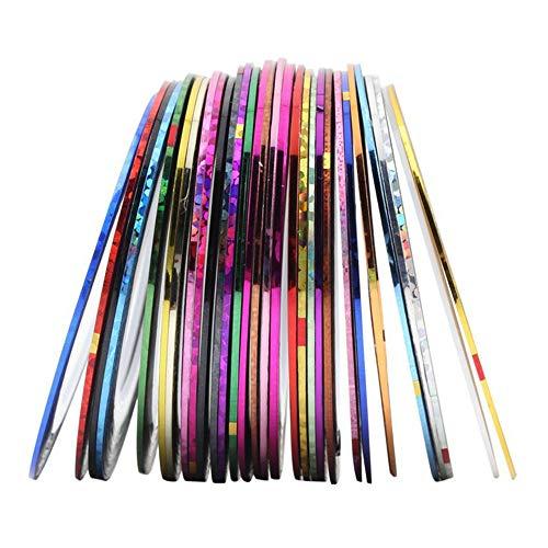 DXIA 30 Colores Cintas Uñas Adhesiva de Línea, Nail Sticker DIY, Nail Art Decoración Etiqueta, Nail Striping Tape para Decoración de Uñas Accesorios DIY Diseño Arte de Uñas Multicolor