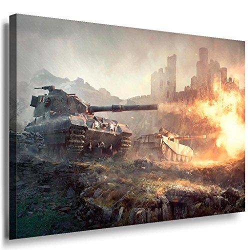 Panzer Schlacht Game Leinwandbild / LaraArt Bilder / Leinwand Bild + Mehrfarbig + Kunstdruck XXL g22-4 Wandbild 80 x 60 cm