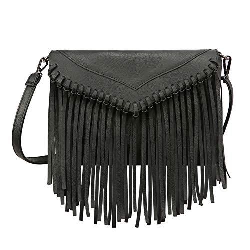 HDE Damen PU Leder Hobo Fransen Crossbody Quaste börse Vintage Kleine Handtasche, Schwarz (schwarz), Einheitsgröße