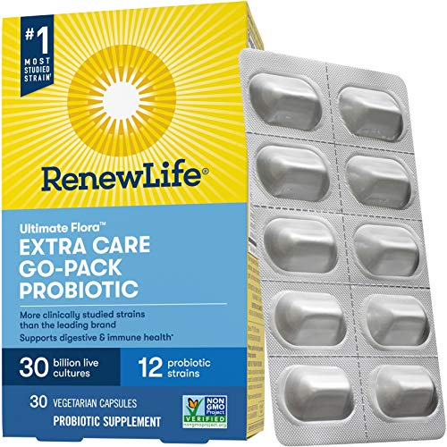 Renew Life Adult Probiotic - Ultimate Flora Extra Care Go-Pack Probiotic Supplement for Men & Women - Shelf Stable, Gluten, Dairy & Soy Free - 30 Billion CFU - 30 Vegetarian Capsules