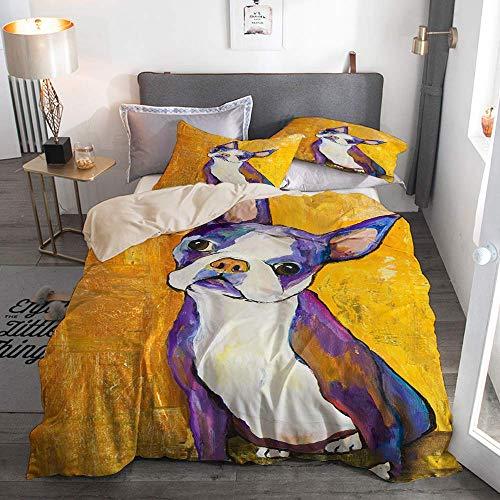 812 Housse de Couette avec taie,Portraits d'animaux Boston Terrier,220x240cm+2 taies d'oreillers 50x75cm