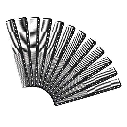 Yebeauty Carbon Fiber Cutting Comb, 12 PCS Black Barber Comb Carbon Fiber Hairdressing Salon Comb Heat Resistant Hair Combs for Cutting